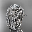14kt white gold diamond engagement ring.  Moissanite double matching band ADLR127S