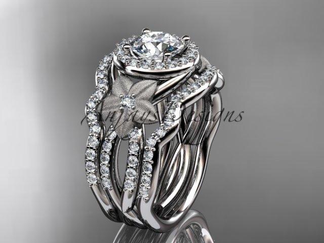 Platinum  diamond engagement ring.  Moissanite double matching band ADLR127S