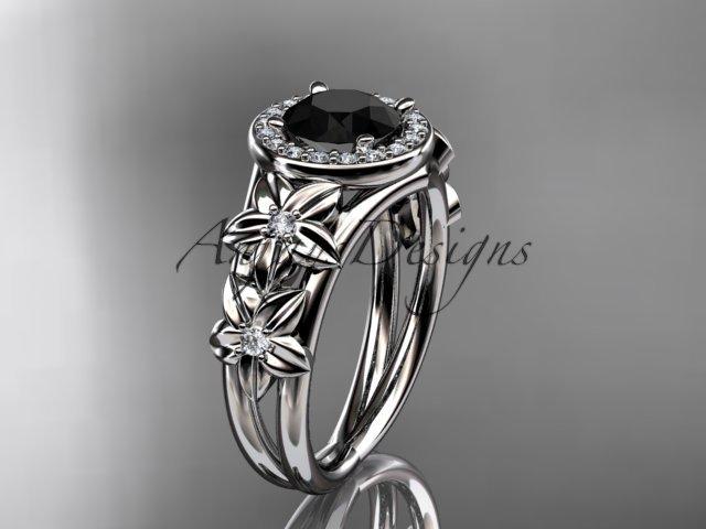 Platinum diamond engagement ring with a Black Diamond center stone ADLR131