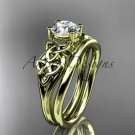 14kt yellow gold celtic trinity knot engagement set with a Moissanite center stone CT7169S
