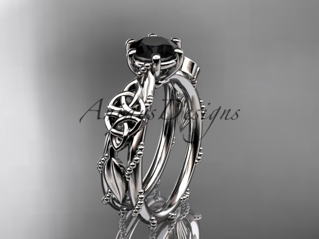14kt white gold celtic trinity knot engagement ring with a Black Diamond center stone CT766