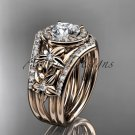 14kt rose gold diamond engagement ring with a Moissanite center stone  ADLR131S