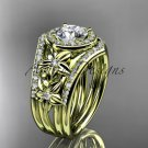 14kt yellow gold diamond engagement ring with a Moissanite center stone  ADLR131S