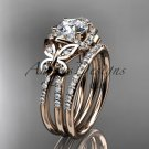 "14kt rose gold diamond engagement set with a ""Forever One"" Moissanite center stone ADLR141S"
