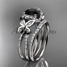 14kt white gold diamond butterfly engagement set with a Black Diamond center stone ADLR141S