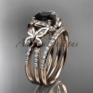 14kt rose gold diamond butterfly engagement set with a Black Diamond center stone ADLR141S