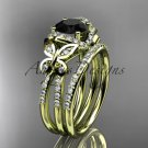 14kt yellow gold diamond butterfly engagement set with a Black Diamond center stone ADLR141S