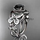 Platinum  diamond floral engagement ring with a Black Diamond center stone ADLR136