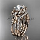 """14kt rose gold diamond engagement set with a """"Forever One"""" Moissanite center stone ADER155S"""