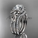 "Platinum diamond engagement set with a ""Forever One"" Moissanite center stone ADER155S"