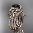 14kt rose gold diamond engagement set, bow ring with a Black Diamond center stone ADER155S