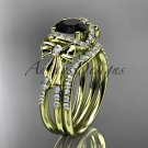 14kt yellow gold diamond engagement set, bow ring with a Black Diamond center stone ADER155S