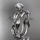 Platinum  diamond vine and leaf wedding ring, engagement set ADLR178S