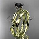 14k yellow gold diamond wedding ring, engagement set with a Black Diamond center stone ADLR178S