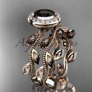 14k rose gold diamond  engagement ring, engagement set with a Black Diamond center stone ADLR212S