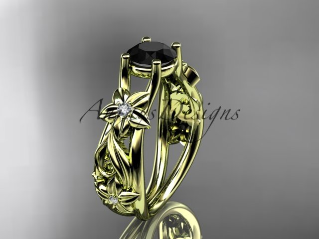 14kt yellow gold diamond floral engagement ring with a Black Diamond center stone ADLR216