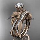 Unique 14kt rose gold diamond flower, leaf and vine wedding ring, engagement set ADLR221S