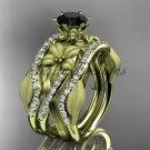 14kt yellow gold diamond engagement ring, Black Diamond center stone,double matching band ADLR221