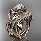 14kt rose gold diamond wedding ring, double matching band ADLR222S