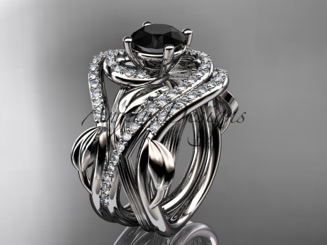 14kt white gold diamond engagement ring,Black Diamond center stone and double matching band ADLR222S