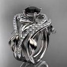 Platinum  diamond engagement ring,Black Diamond center stone and double matching band ADLR222S