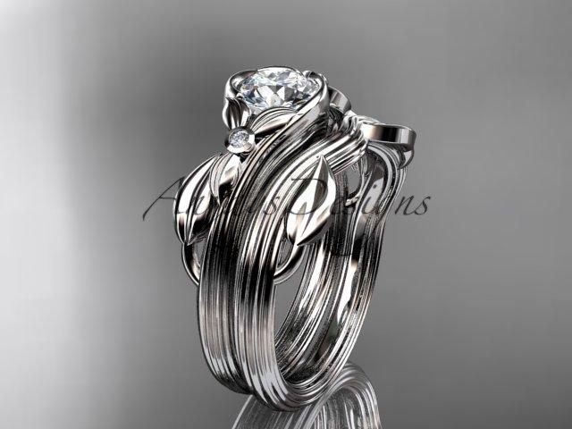 Unique platinuim  diamond floral engagement set ADLR324S