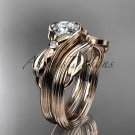 """14kt rose gold diamond floral engagement set with a """"Forever One"""" Moissanite center stone ADLR324S"""
