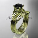 14kt yellow gold diamond leaf and vine engagement set with a Black Diamond center stone ADLR240S