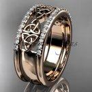 14kt rose gold celtic trinity knot wedding band, brIdal ring CT7406B