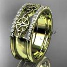 14kt yellow gold celtic trinity knot wedding band, bridal ring CT7406B