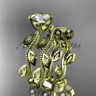 14k yellow gold diamond leaf and vine wedding ring, engagement ring, engagement set ADLR213