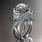 """14kt white gold diamond engagement set with a """"Forever One"""" Moissanite center stone ADLR320S"""