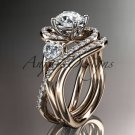 """14kt rose gold diamond engagement set with a """"Forever One"""" Moissanite center stone ADLR320S"""