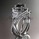 Unique 14kt white gold diamond engagement set with a Black Diamond center stone ADLR320S