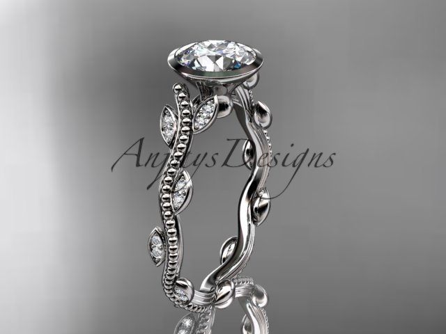Platinum  diamond leaf and vine wedding ring, engagement ring ADLR33