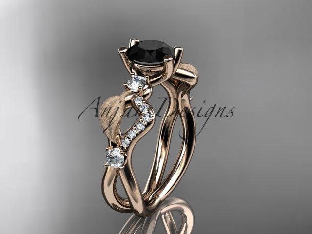 14kt rose gold diamond leaf and vine engagement ring with Black Diamond center stone ADLR68
