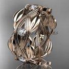 14kt rose gold leaf wedding ring, wedding band ADLR259B
