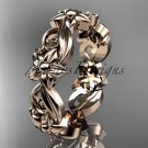 14kt rose gold leaf and flower engagement ring, wedding band ADLR217G