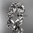 platinum  leaf and flower engagement ring, wedding band ADLR217G