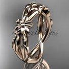14kt rose gold leaf and flower engagement ring, wedding band ADLR204G