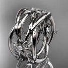 Platinum  leaf and vine, flower wedding ring,wedding band ADLR352B