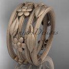 14kt rose gold leaf and vine, floral wedding band, engagement ring ADLR242G