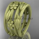 14kt yellow gold leaf and vine, floral wedding band, engagement ring ADLR242G