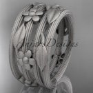 Platinum  leaf and vine, floral wedding band, engagement ring ADLR242G