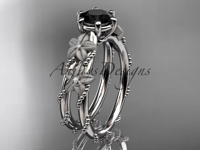 14kt white golddiamond floral, leaf and vine engagement ring with Black Diamond center stone ADLR66
