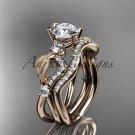 14kt rose gold diamond leaf and vine engagement set with Moissanite center stone ADLR68S