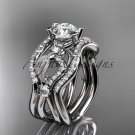 14kt white gold diamond leaf and vine engagement ring with double matching band ADLR68S