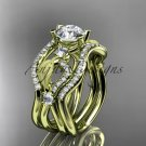 14kt yellow gold diamond leaf and vine engagement ring with double matching band ADLR68S