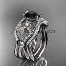 Platinum  diamond engagement ring ,Black Diamond center stone and double matching band ADLR68S