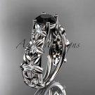 Platinum  diamond floral engagement ring with a Black Diamond center stone ADLR149